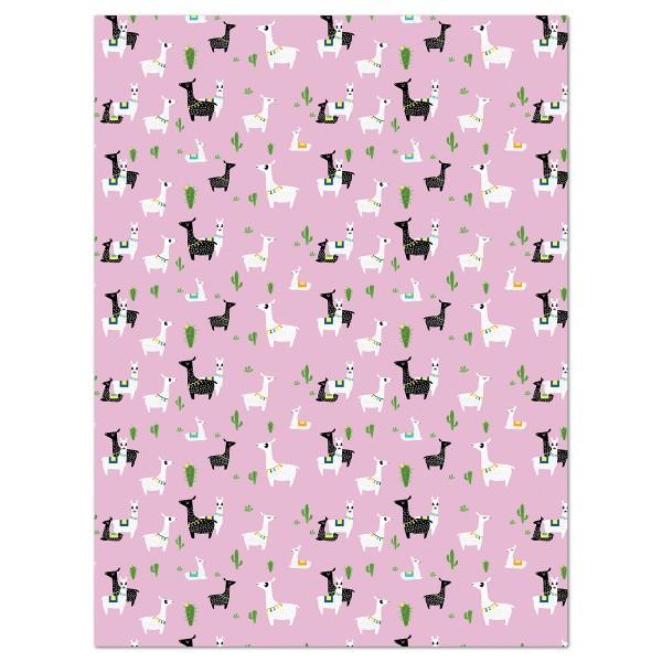 Decoupagepapier violett mit Lamas von Décopatch, 30x40cm, 20g/m²