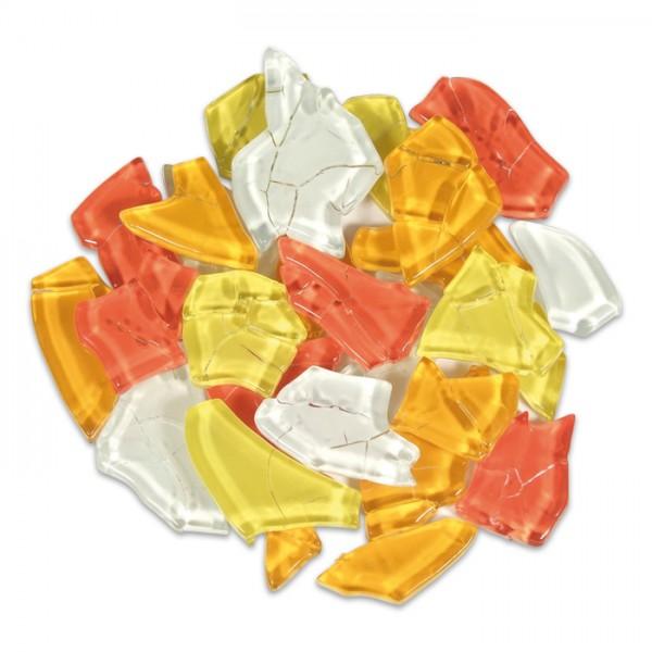 Crash Glas polygonal 500g ca. 190 St. gelb-rot mix ca. 1-3cm, ca. 4mm stark