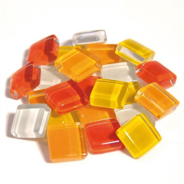 Mosaik Soft-Glas 10x10x4mm 200g gelb-rot mix ca. 210 Steine