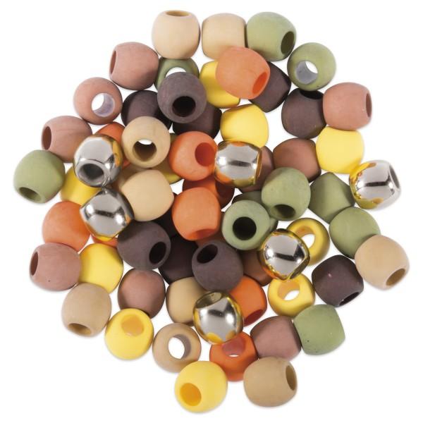 Kunststoffperlen-Mix 9mm 60 St. orange/grün/braun 6 Designs à 10 St, Lochgr. ca. 5mm