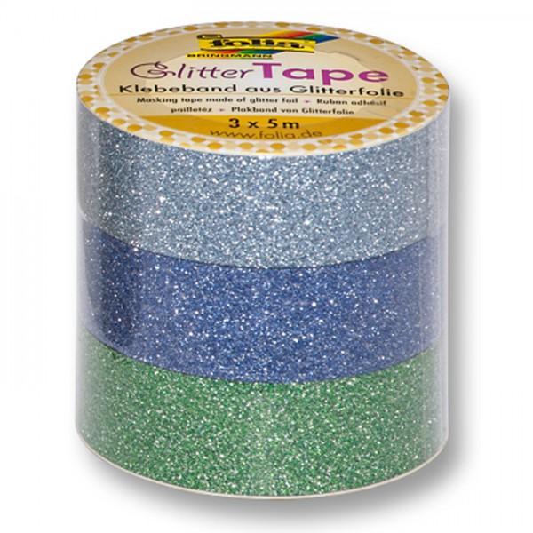 Glitter-Tape Papier 15mm 3x5m hell-/dkl.blau/grün Klebeband