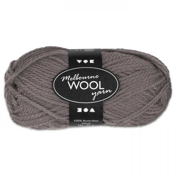 Garn Melbourne Filzwolle 50g grau 100% Wolle, LL 92m, Nadel Nr. 4