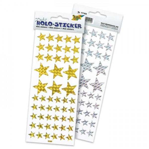 Hologramm-Sticker Sterne 102 St. silber- & goldf. Ø 15/18/30mm