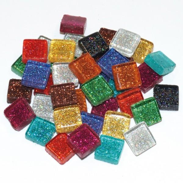 Mosaik Soft-Glas 10x10x4mm 100g Glitter mix ca. 105 Steine