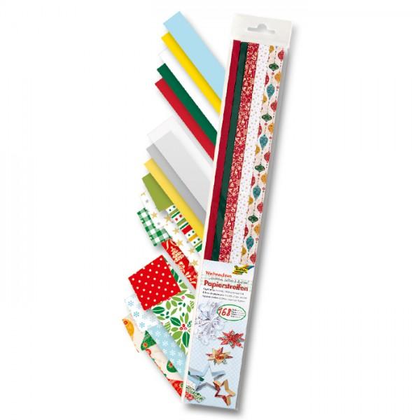 Papierstreifen 50cm 168 St. Weihnachten 115-130g/m², 60 St. 1cm/72 St. 1,5cm/36 St. 2cm
