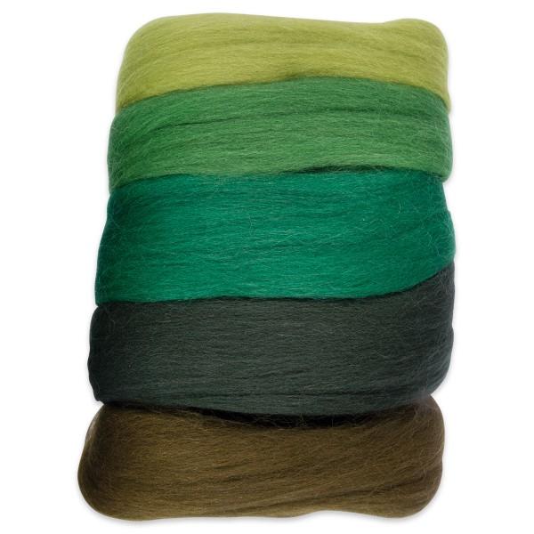 Kammzugwolle Merino 50g grünton 100% Wolle vom südamerikanischen Merinoschaf
