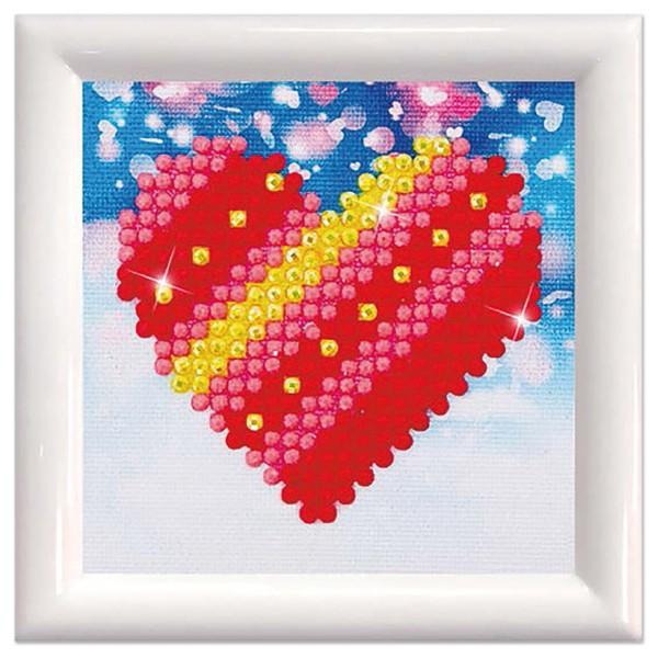Diamond Dotz Set Dotzies Bild 7x7cm Herz Rahmen 9,7x9,7cm, Kunststoff, weiß