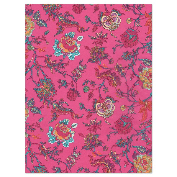 Decoupagepapier bunte Blumenranken auf pink von Décopatch, 30x40cm, 20g/m²