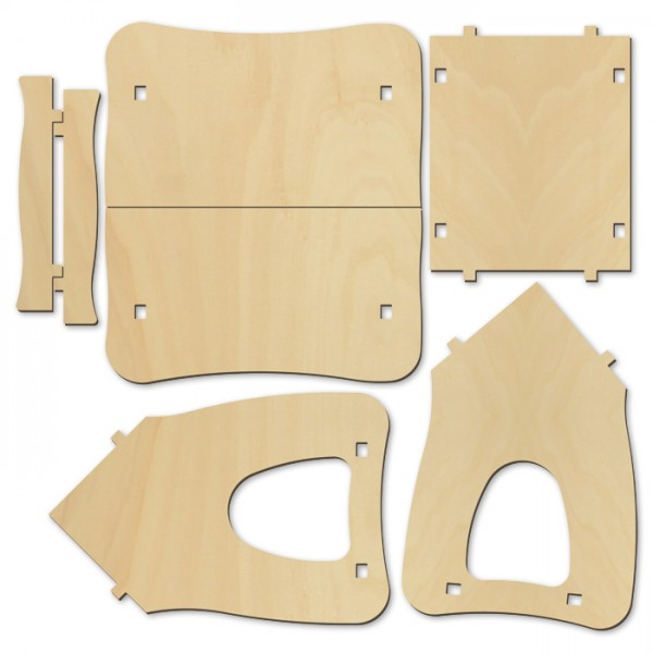schiefes Futterhäuschen Holz ca. 14x21x15cm natur 6mm stark