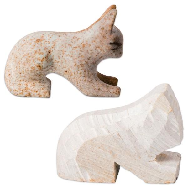 Speckstein-Rohling ca. 8-10cm Katze Farbe zufällig