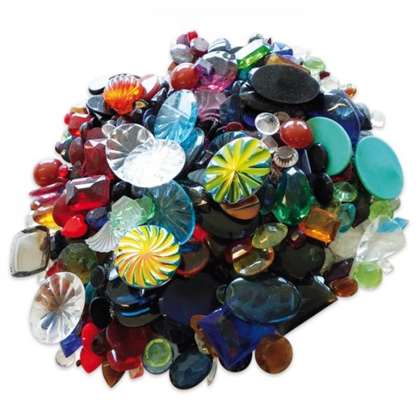 Glassteine-Mix gemischte Formen 1kg 2. Wahl bunt