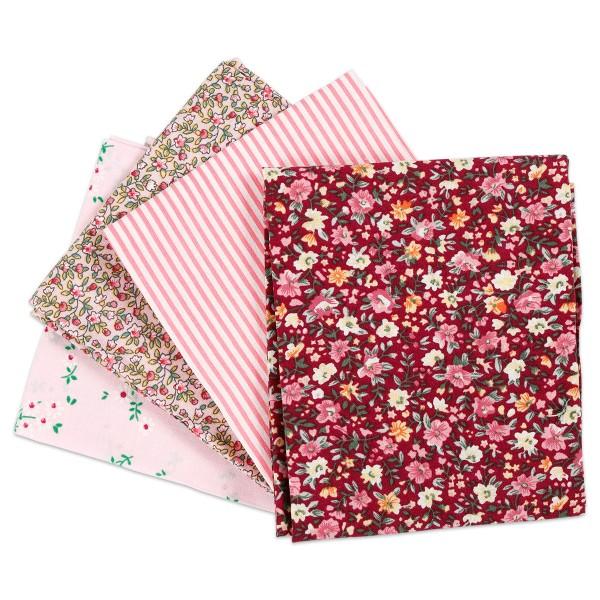 Patchwork-Stoff-Paket 4 Zuschnitte à 45x55cm rosa 100% Baumwolle, 100g/m²