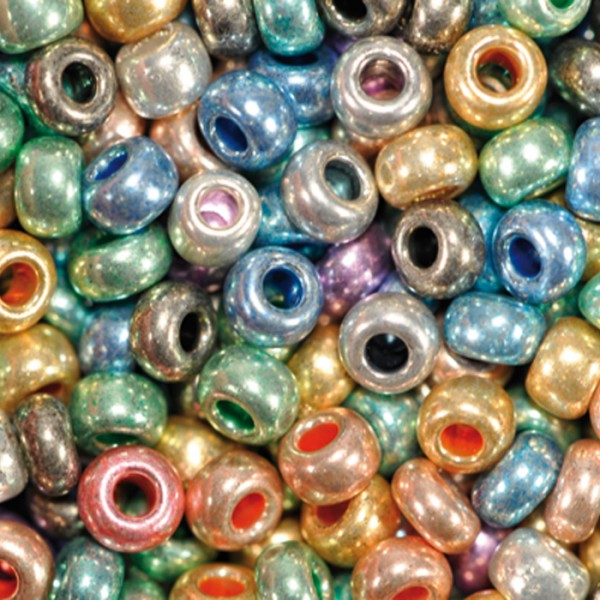 Rocailles metallic glänzend 2,6mm 17g mix Glas, Lochgr. ca. 0,9mm