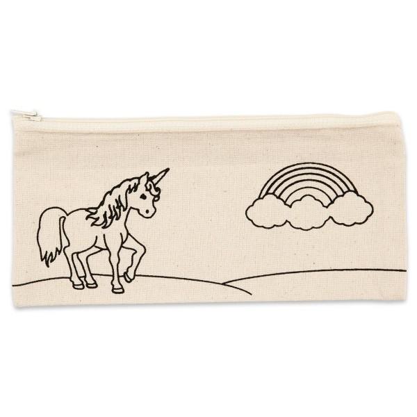 Stifte-Mäppchen Einhorn 21x9cm hellnatur 100% Baumwolle