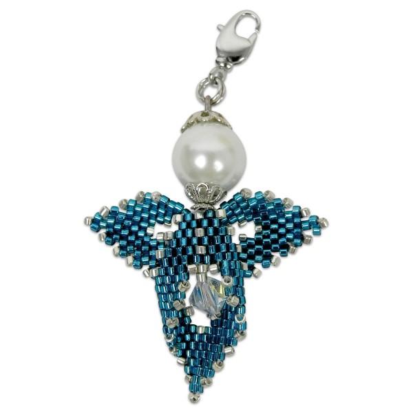 Kreativset Peyote Engel blau-silberfarben ca. 5cm, Perlen-Bastelset, Kunstoff/Metall