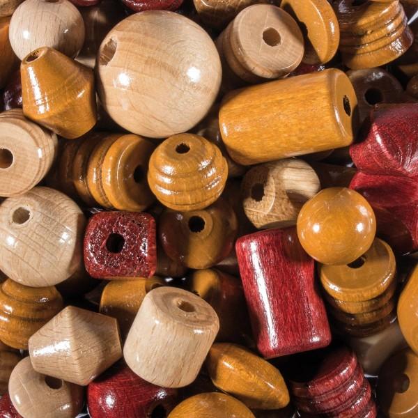 Holzperlen-Mix ca. 8-25mm 250g natur lasiert Lochgr. ab ca. 2mm