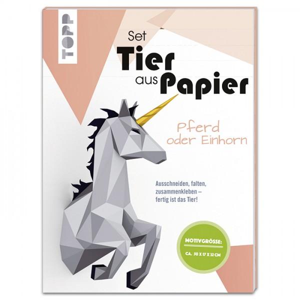 Tier aus Papier Set ca. 50x17x32cm Pferd/Einhorn 15 Bl. à 20,9x27,9cm