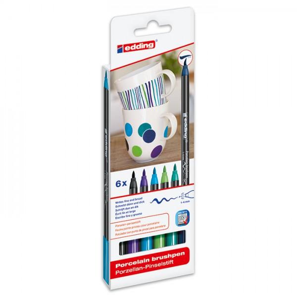 edding 4200 Porzellan-Pinselstifte 6 St. Blau-/Grüntöne Strichbreite 1-4mm