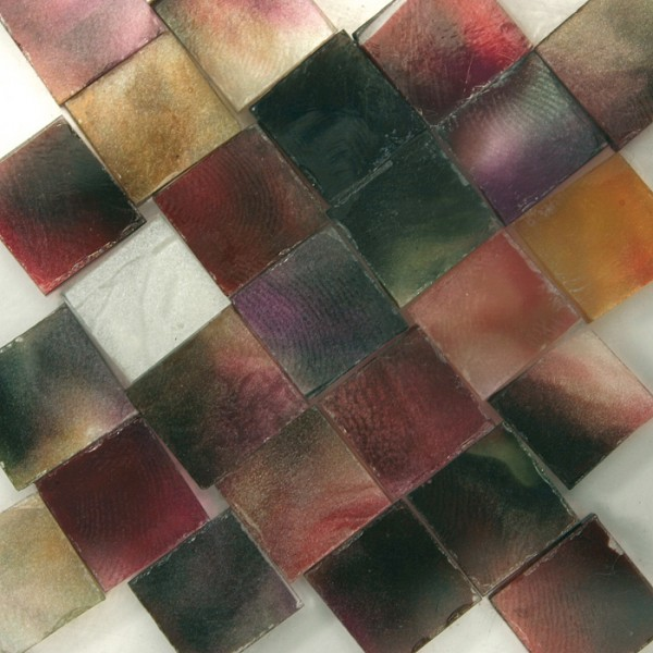Glasmosaik 1x1cm ca. 850 Steine 500g rot-lila transparent, ca. 2mm stark