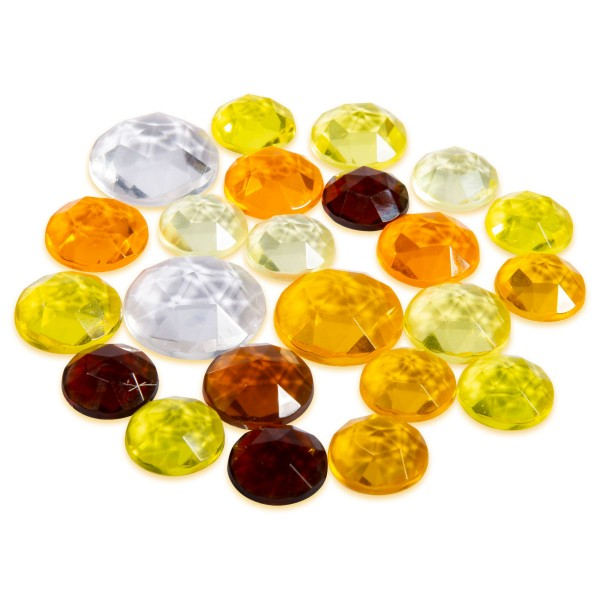 Plexiglas-Steine Cabochon facettiert 20g Gelb-Orange-Braun-Töne 13-20mm, ca. 16-20 Steine