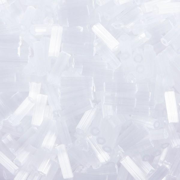 Glasstifte transparent 6mm 15g Seide weiß Silbereinzug, Lochgr. ca. 0,9mm