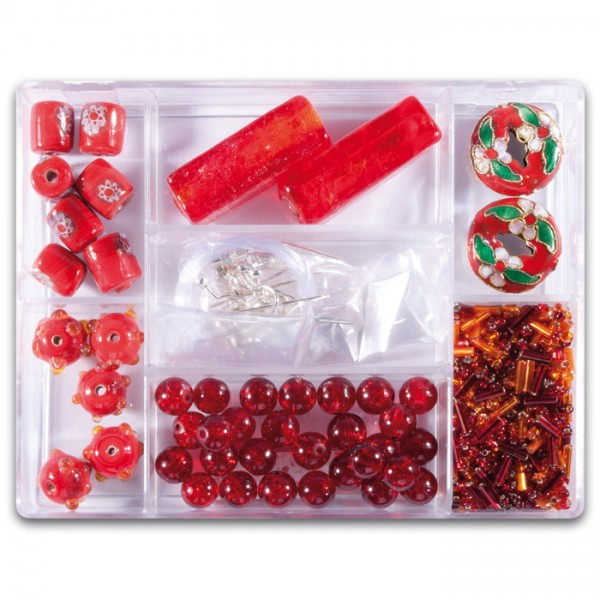 Glasperlen-Mix ca. 7-15mm ca. 70g rot Box 7 Fächer, inkl. Zubehör, Lochgr. ca. 0,7-1mm