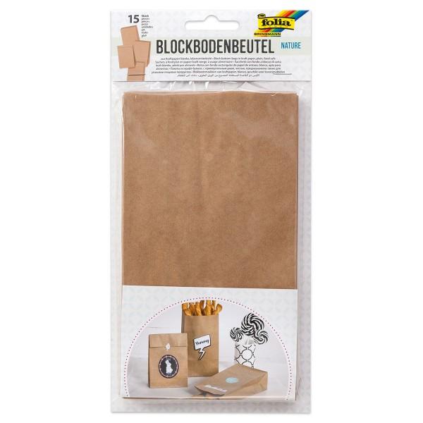 Papiertüten 21x12x6cm 15 St. natur lebensmittelechte Bodenbeutel