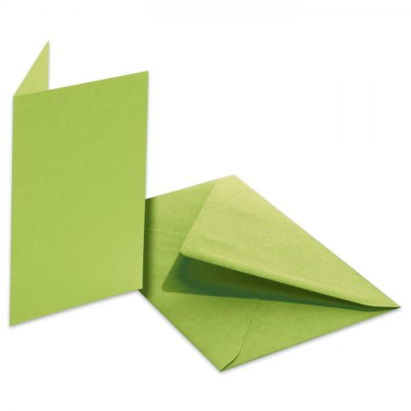 Doppelkarten 220g/m² 10,5x15cm 5 St. maigrün inkl. Kuvert&Einlegeblatt