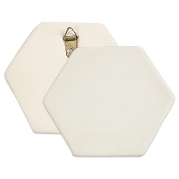 Kachel Terrakotta sechseckig Ø 13cm weiß mit Aufhänger