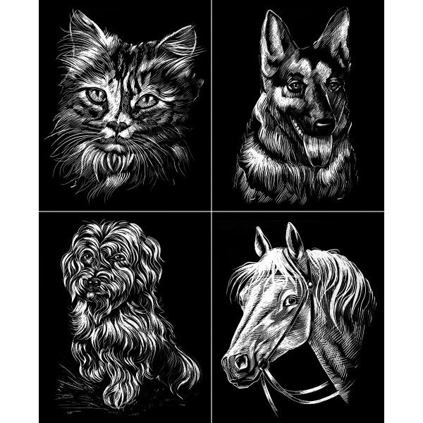 Kratzbilder-Set silber Hunde Katze Pferd 4 St. à ca. 10,5x15cm