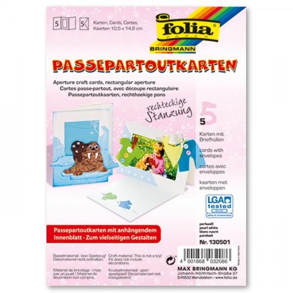 Passepartoutkarten DIN A6 5 St. Rechteck perlweiß inkl. Kuvert&Einlegeblatt, 220g/m²