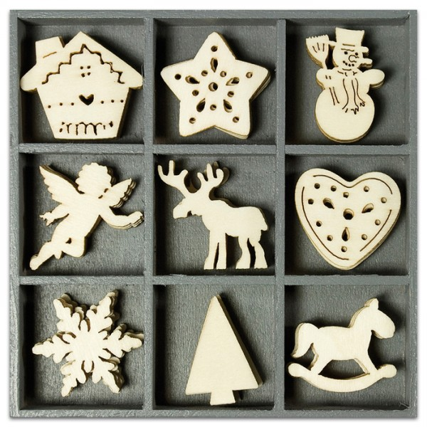 Mini-Holzornamente Weihnachten 3 45 St. natur 23-30mm