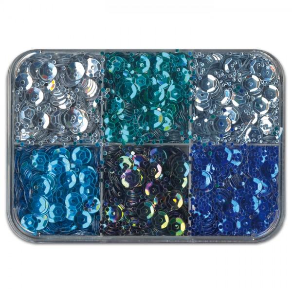 Pailletten 6,5mm 50g blau Kunststoff