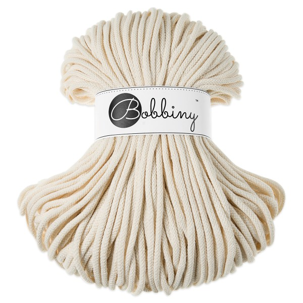 Bobbiny Rope-Garn Premium Ø5mm natural ca. 400g-500g, 100% Baumwolle, LL 100m, Nadel Nr. 10-12