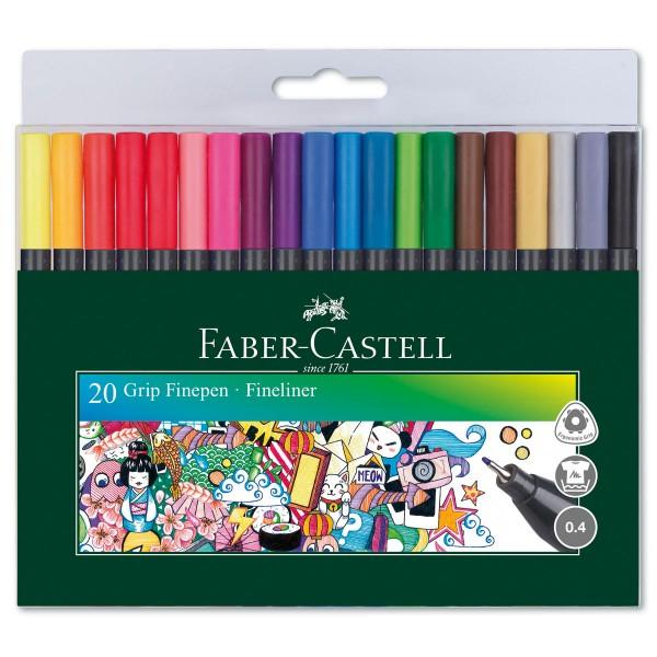 Faber-Castell Grip Finliner 20 St./Farben Strichbreite 0,4mm, Dreikantform