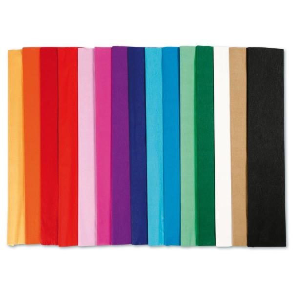 Krepp-Papier Sortiment 50cm 15 Bl./Farben à 2,5m Bastelkrepp