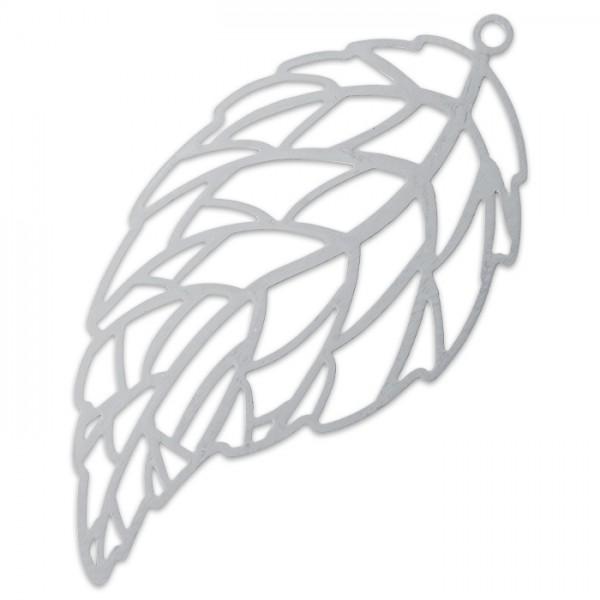 Metallanhänger Blatt ca. 42x22mm platinfarben Lochgröße ca. 1,3mm