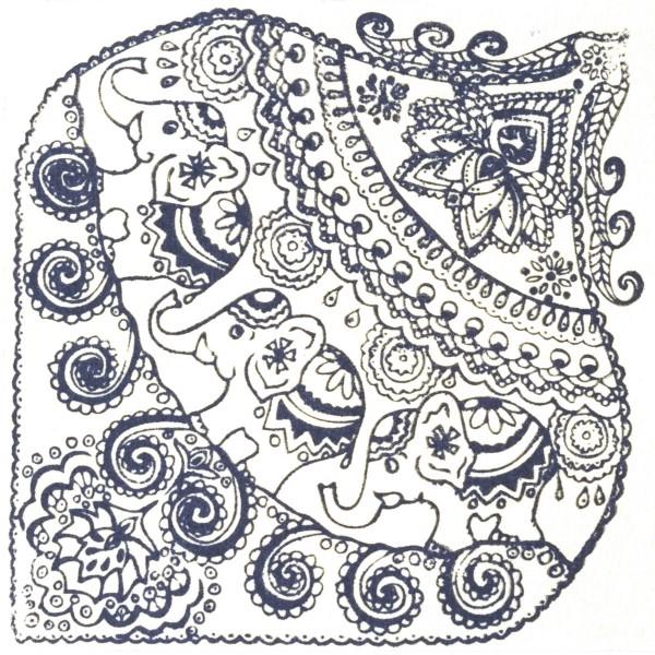 Texturmatte Gummi 9x9cm Indian Elephants