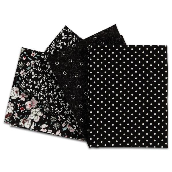 Patchwork-Stoff-Paket 4 Zuschnitte à 45x55cm schwarz 100% Baumwolle, 100g/m²