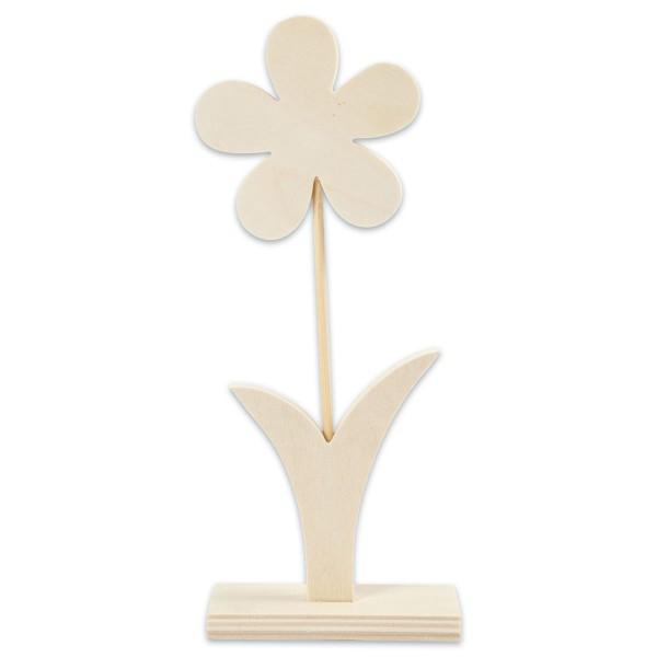 Stehfigur Blume Holz 10mm ca. 27,5cm hoch natur