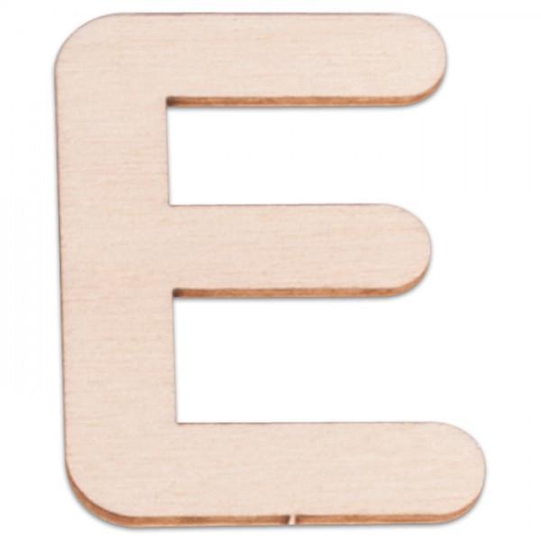 Holzbuchstabe E ca. 3mm 6cm hoch natur
