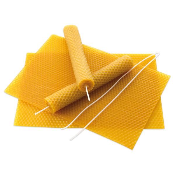 Bienenwachswaben Set 100x250mm 15 Platten inkl. 150cm Docht