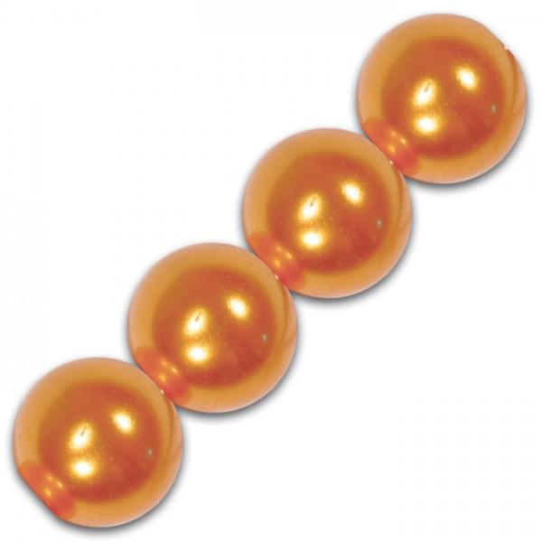 Wachsperlen 8mm 32 St. orange Kunststoff, Lochgr. ca. 1,5mm