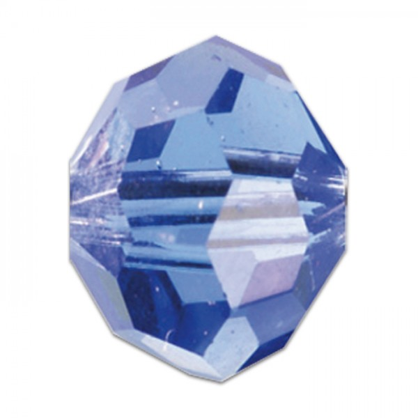 Facettenschliffperlen 4mm 35 St. light safir transparent, feuerpoliert, Glas, Lochgr. ca. 0,9mm