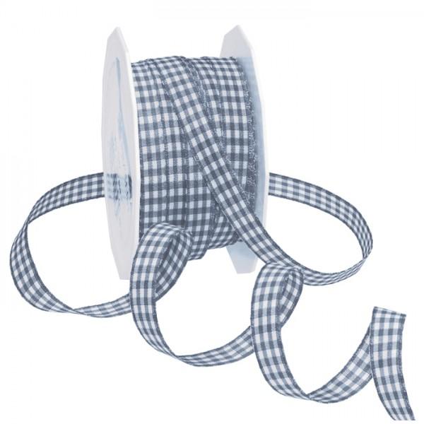 Vichyband/Zierband 1cm 20m schiefer/weiß 100% Polyester