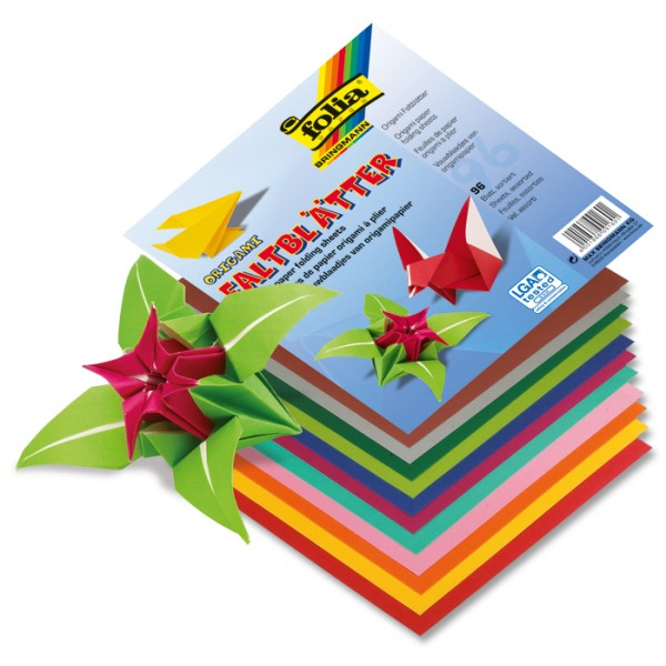 Faltblätter Origami-Papier 10x10cm 96 Bl./12 Farben einseitig gefärbt, 80g/m²