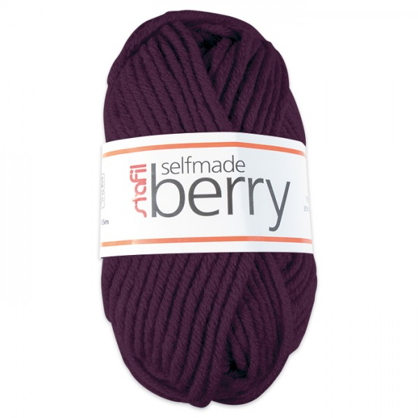 Wolle Berry 6-7mm 50g cassis 70% Polyacryl, 30% Wolle