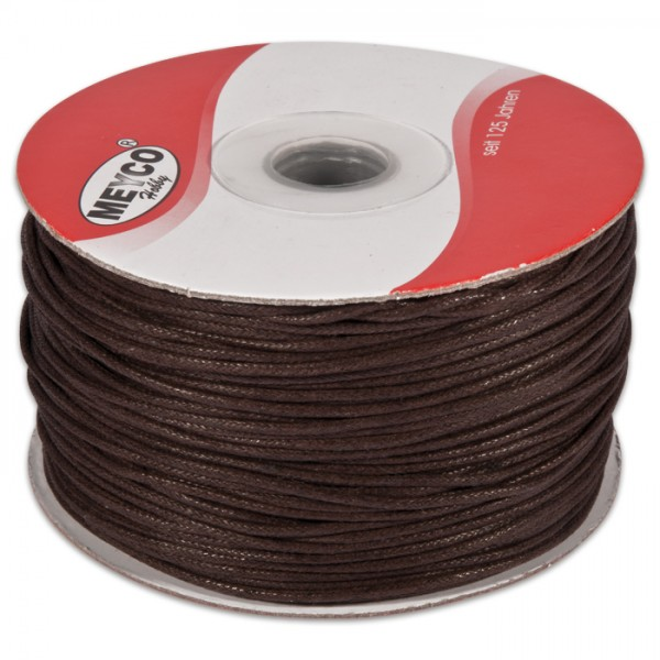 Baumwollschnur lüstriert 1mm 150m braun 100% Baumwolle