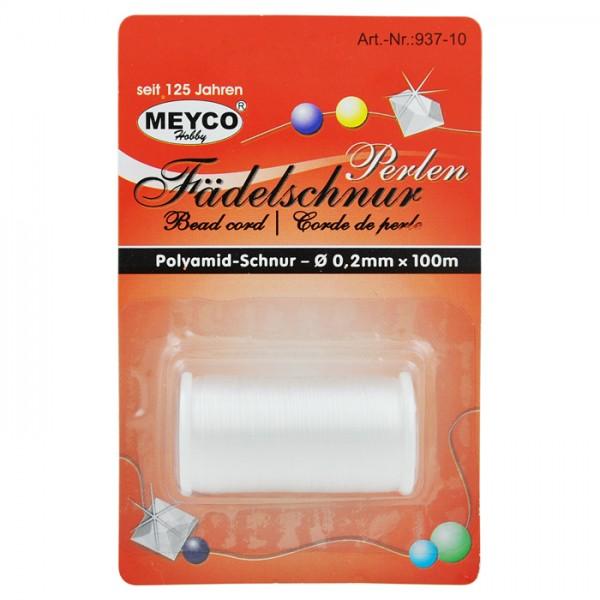 Perlen-Fädelschnur Polyamid 0,2mm 100m weiß
