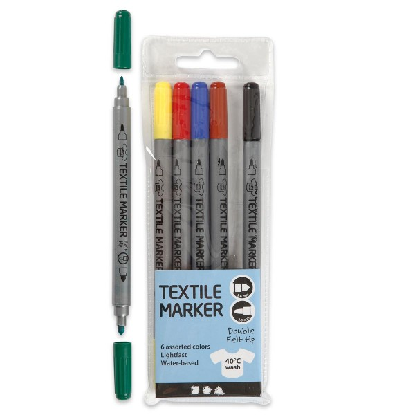 Textilmalstifte Doppelspitze 6 St./Farben Strichbreite 2,3/3,6mm
